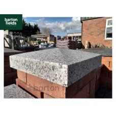 Silver Pier Caps: Natural Granite 36cm x 36cm Pier Cap in Emperor Silver - for 1 1/2 Brick Pillar
