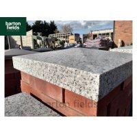 Silver Pier Caps: Natural Granite 48cm x 48cm Pier Cap in Emperor Silver - for 2 Brick Pillar