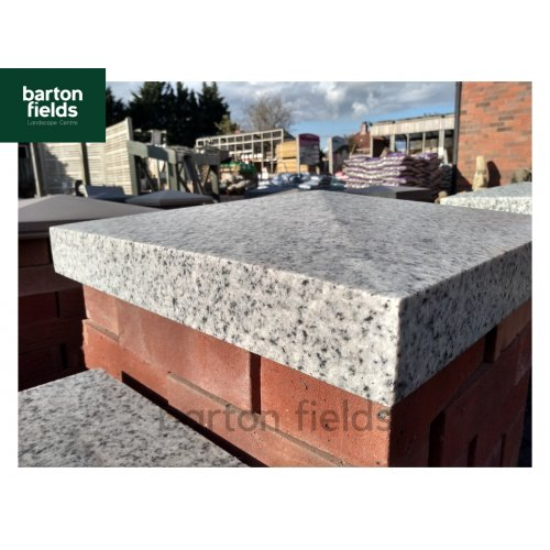 Silver Pier Caps: Natural Granite 48cm x 48cm Pier Cap in Emperor Silver - for 2 Brick Pillar