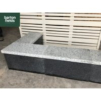 Silver Wall Copings: Natural Granite Flat Double Coping Stone in Emperor Silver - 600mm x 300mm x 40mm
