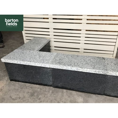 Wall Copings: Natural Granite Flat Double Coping Stone in Emperor Silver - 600mm x 300mm x 40mm