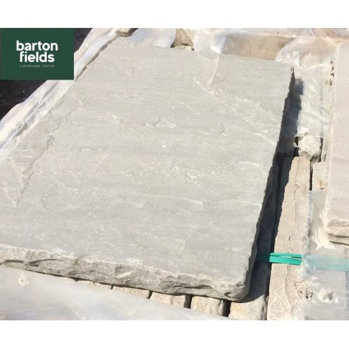 Natural Grey/Brown Sandstone Reclaimed Style Double Wall Coping Stones - 600mm x 400mm x 50mm