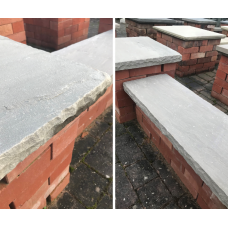 Natural Grey/Brown Sandstone Reclaimed Style Double Wall Coping Stones - 900mm x 300mm x 50mm