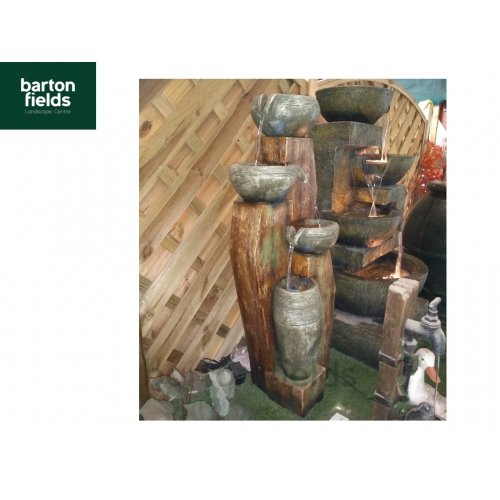 4 Bowls on Wood Self Contained Water Feature
