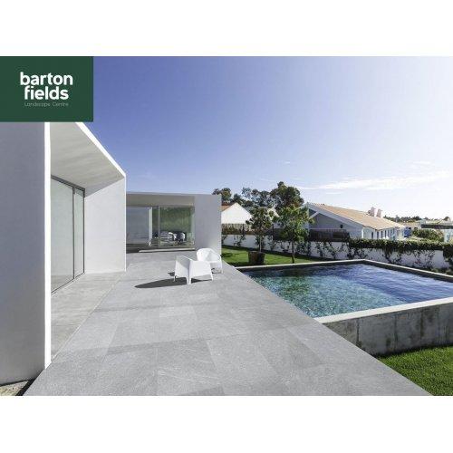 Porcelain Paving: Spanish Quartz Grey 900x600x20mm Paving Tiles - Patio Pack of 18.9m2
