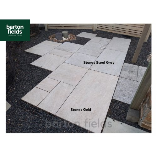 Porcelain Paving: Italian Stones Gold 3 Mixed Size Paving Tiles - Patio Pack of 20.48m2