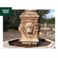 Natural Limestone Fountain -  4 Lion Head Design: 1.5mtr High