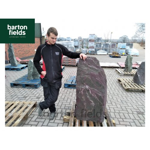 Natural Slate Monolith Water Feature in Plum Slate Ref OPS2: Pre-Drilled - 1200mm High