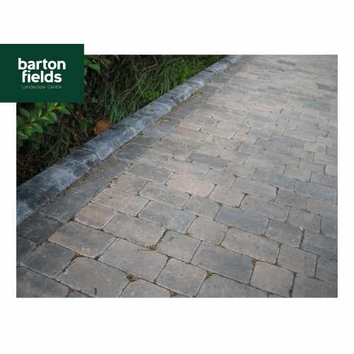 Tumbled Block Paving Low Kerbs for Driveways in Charcoal - 140mm High