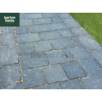 Tumbled 50mm 2 Size Block Paving, Charcoal - Pack 8.35m2