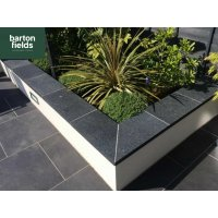 Black Wall Copings: Natural Granite Flat Double Coping Stone in Emperor Black - 600mm x 300mm x 40mm