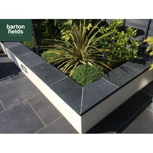 Black Copings: Natural Granite Flat Double Coping Stone in Emperor Black - 600mm x 300mm x 40mm