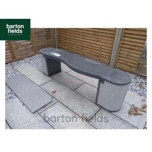 Natural Granite Curved Garden Bench in Dark Granite - 1500mm