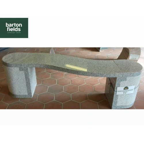 Natural Granite Curved Garden Bench in Silver Granite - 1500mm