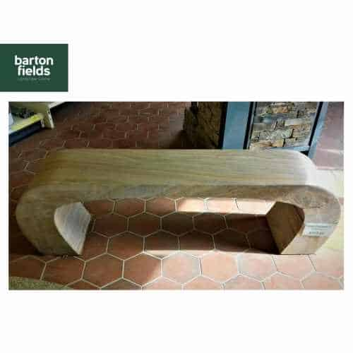 Natural Sandstone Arched Garden Bench in Rainbow Colour - 1600mm