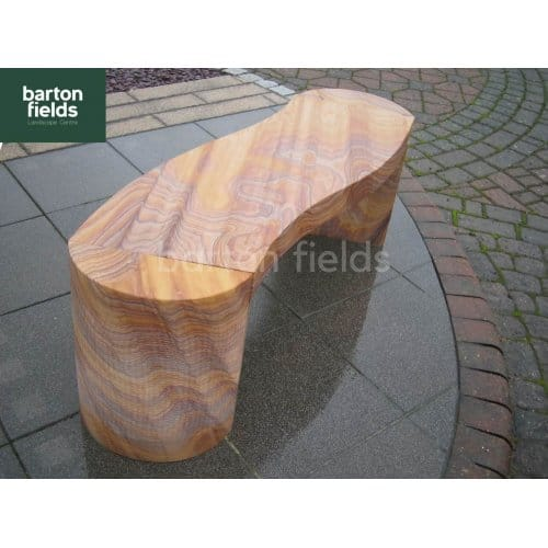 Natural Sandstone S-Shaped Garden Bench in Rainbow Colour