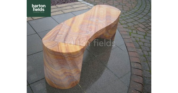 Natural Sandstone S Shaped Garden Bench In Rainbow Colour Stoneware