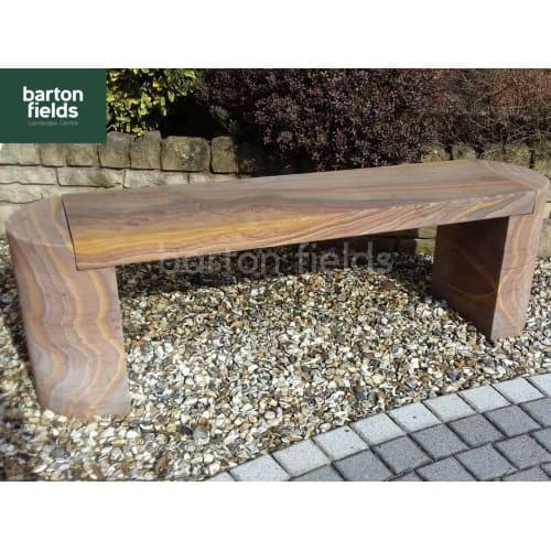 Natural Sandstone Straight Garden Bench in Rainbow Colour - 1420mm