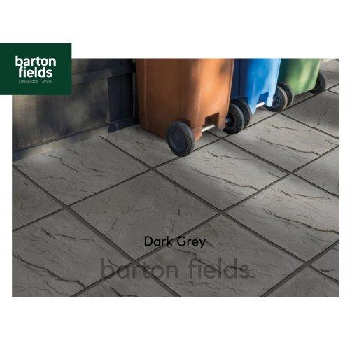 Bradstone Peak Riven Paving Slabs in Dark Grey.  450x450mm - Pack (40)