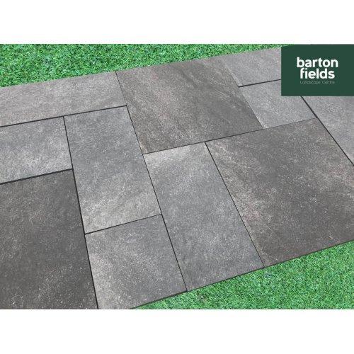 Carbon Black 3 Size Porcelain Paving  - Patio Pack of 16.2m2