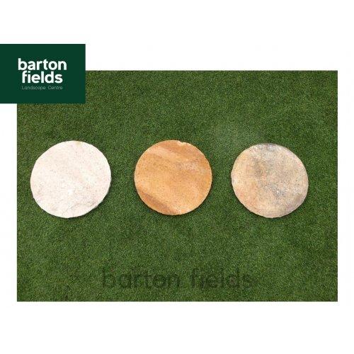 Natural Sandstone 400mm Dia Round Stepping Stones - Colour: Sahara