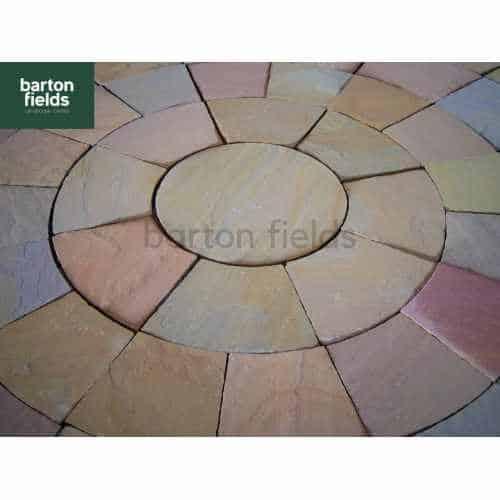 Natural Sandstone 2.7m Dia Circle Paving Feature - Harvest Blend Colour