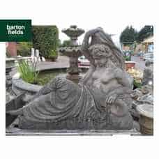 Reclining Lady Natural Aged Sandstone Garden Statue - 1400mm Wide x 1150mm High