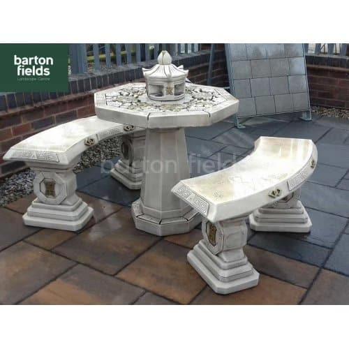 Oriental 3 Piece Patio Set in Aged Grey Finish