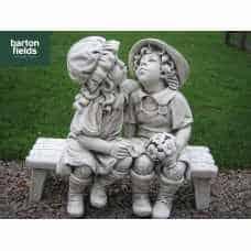 Boy & Girl Kissing On A Bench, Garden Statue