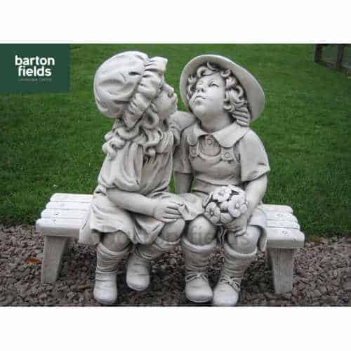 Boy & Girl Kissing On A Bench, Garden Statue