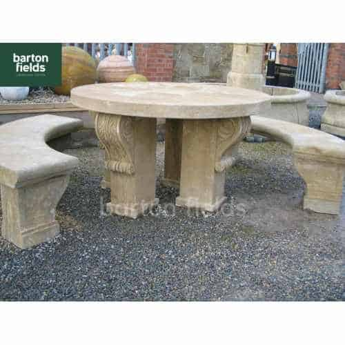 Natural Antique Limestone Table & Bench Set