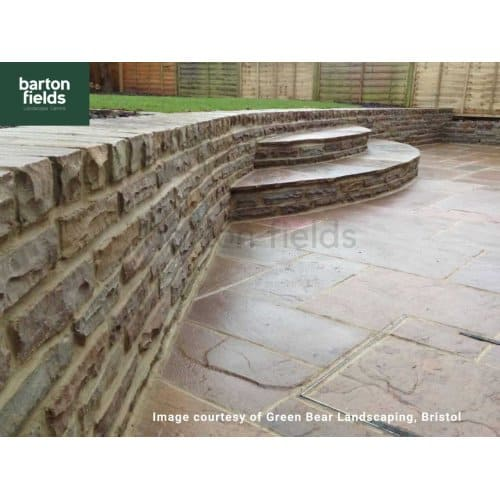 Natural Sandstone Walling in Raj Colour, 325mmx100mmx55mm-75mm, Packs of 4.5m2