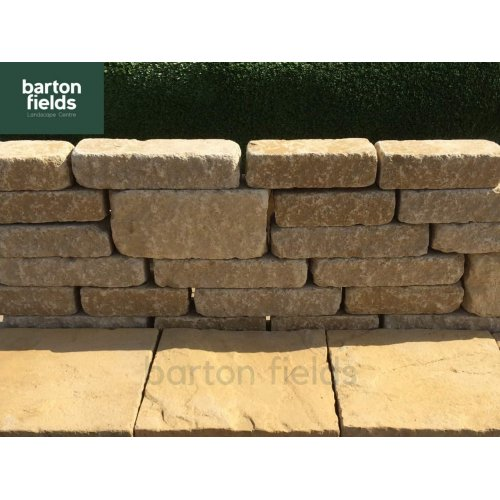 Tumbled Garden Walling Stone, 3 Size Walling Project Pack in Cotswold Buff Colour - PacK 5m2