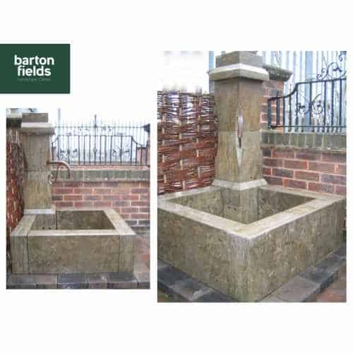Natural Limestone Corner Wall Fountain - French Village Design: 1.25mtr High