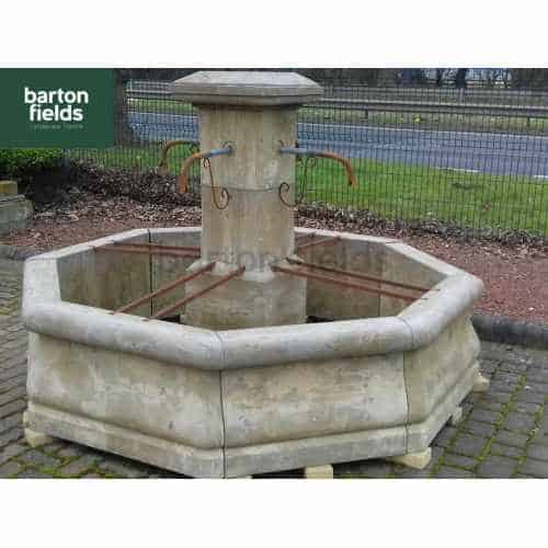 Natural Limestone Fountain - French Village Style with Bucket Rails: 2.05mtr Diameter