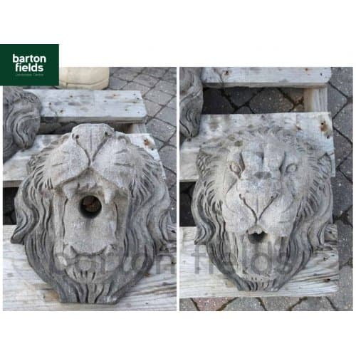 Natural Limestone Lions Head - 300x275mm Wall Plaque Water Feature