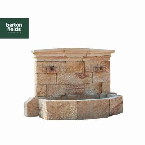 Natural Limestone Wall Fountain - French Province Design: 2.37mtr Wide x 1.7mtr High