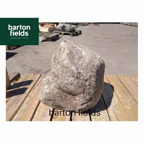 Natural Stone Pre-Drilled Boulder in Speckled Beige/Grey: 370mm
