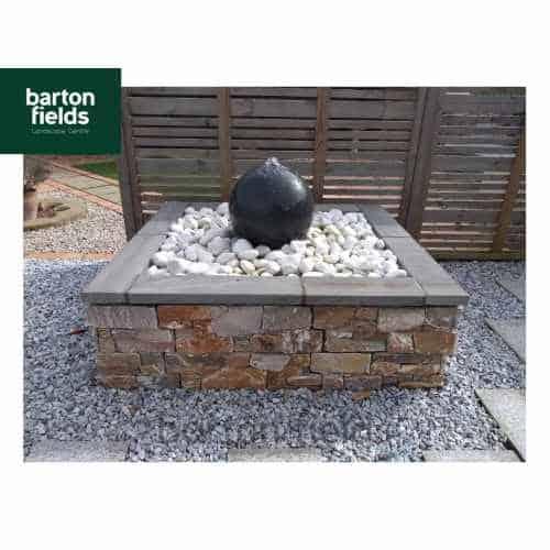 Natural Granite Pre-Drilled 40cm Dia Sphere in Graphite - Complete Water Feature Kit