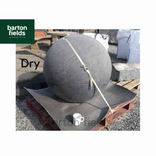 Natural Limestone Pre-Drilled Sphere in Black Limestone: 90cm Diameter