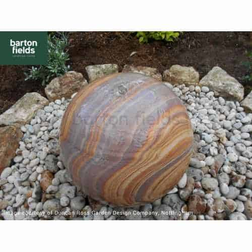 Natural Sandstone Pre-Drilled 40cm Dia Sphere in Rainbow Colour - Complete Water Feature Kit
