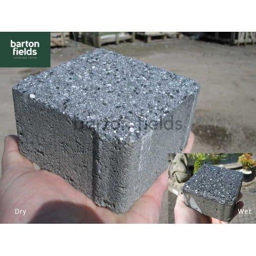 Granite Effect Shot Blast Cobbles in Dark Grey - 10cm x 10cm