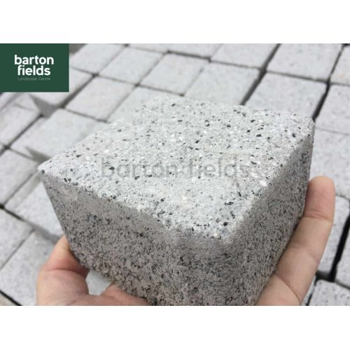 Granite Effect Shot Blast Cobbles, Silver 10cm x 10cm