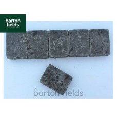 Tumbled Block Paving Cobble Setts, Charcoal  10.5cm x 14cm