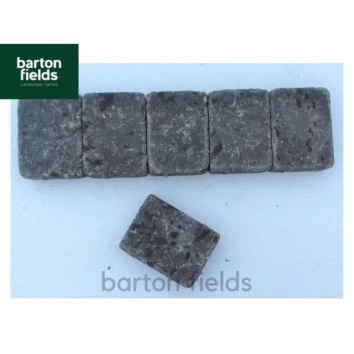 Tumbled Block Paving Cobble Setts, Charcoal  10.5cm x 14cm