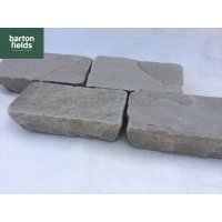 Natural Sandstone Tumbled Cobble Setts, Silver Grey - 20cm x 10cm